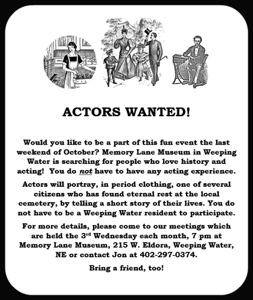 2018 04 25 WW Memory Lane actors wanted
