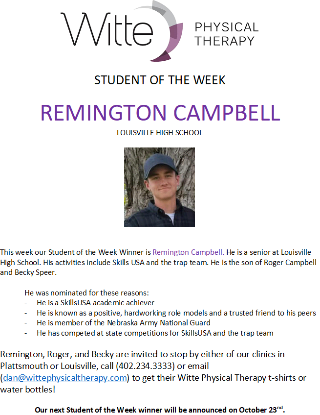Student of the week. remingtion