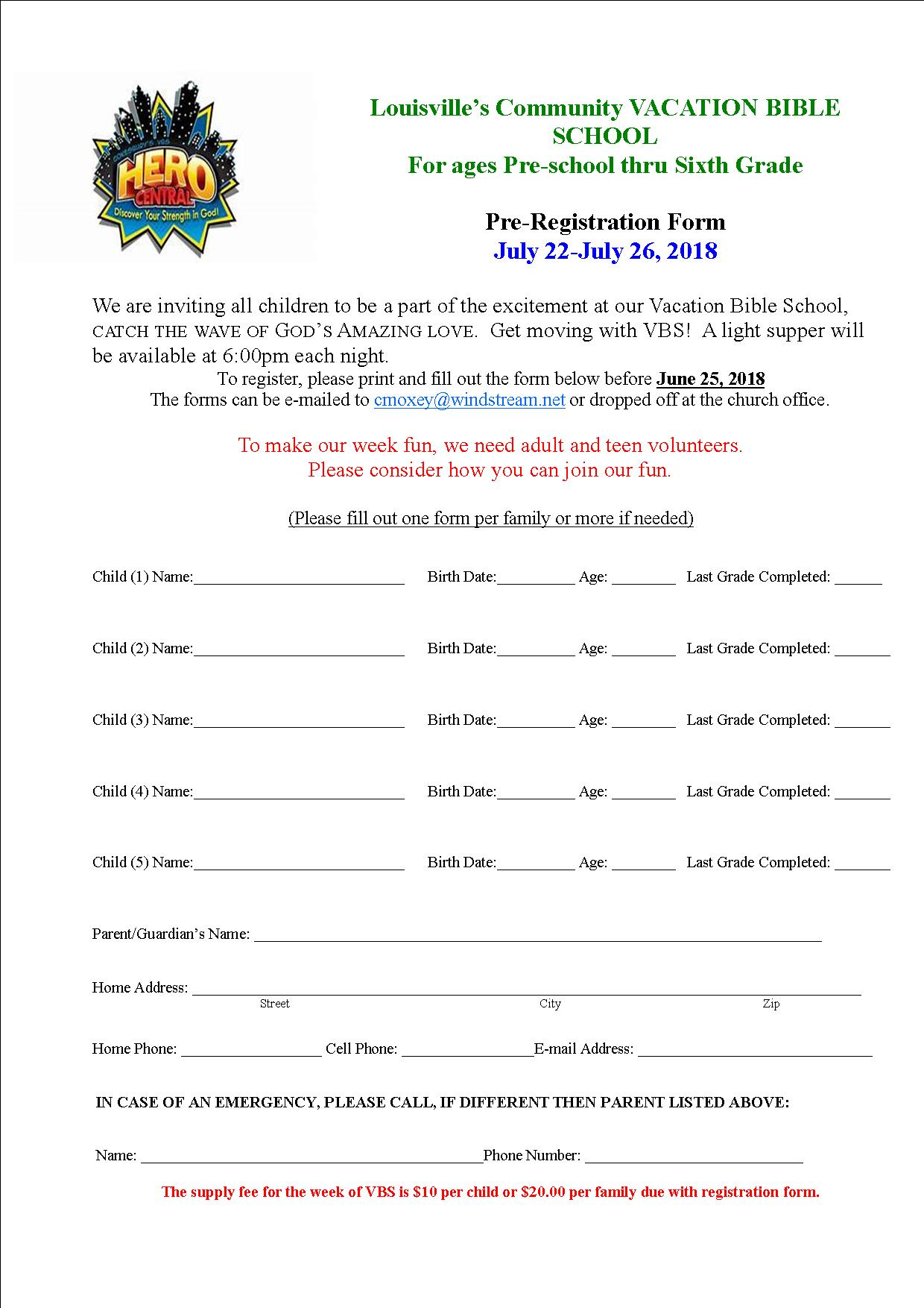 VBS Registration form 2018