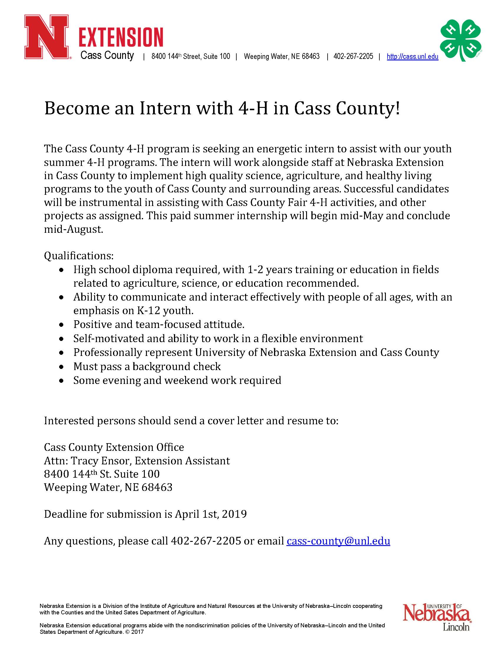 2019 Summer nn Intern call letter
