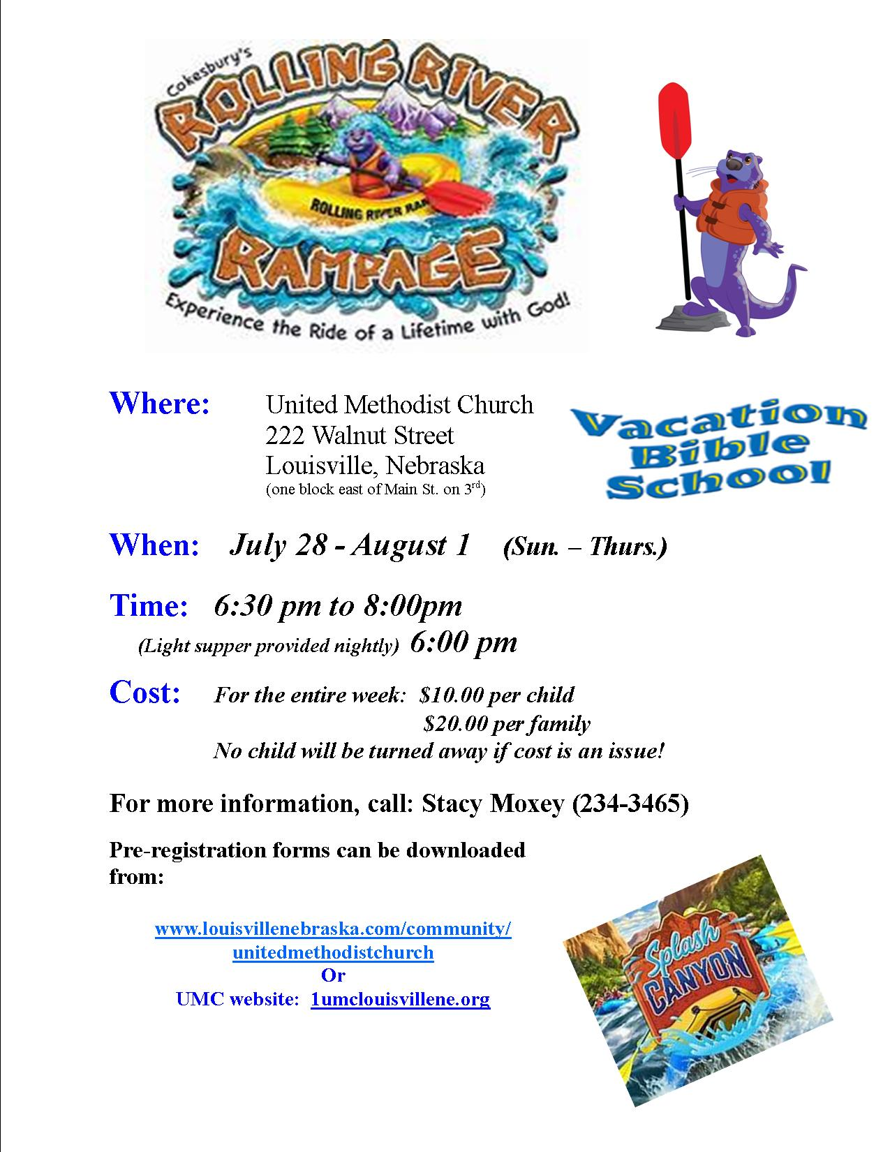 VBS 2019 flyer rolling river rampage